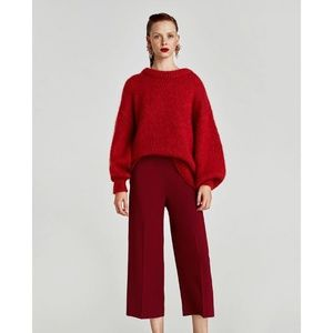 Zara Women High Waist Trousers Burgundy Red